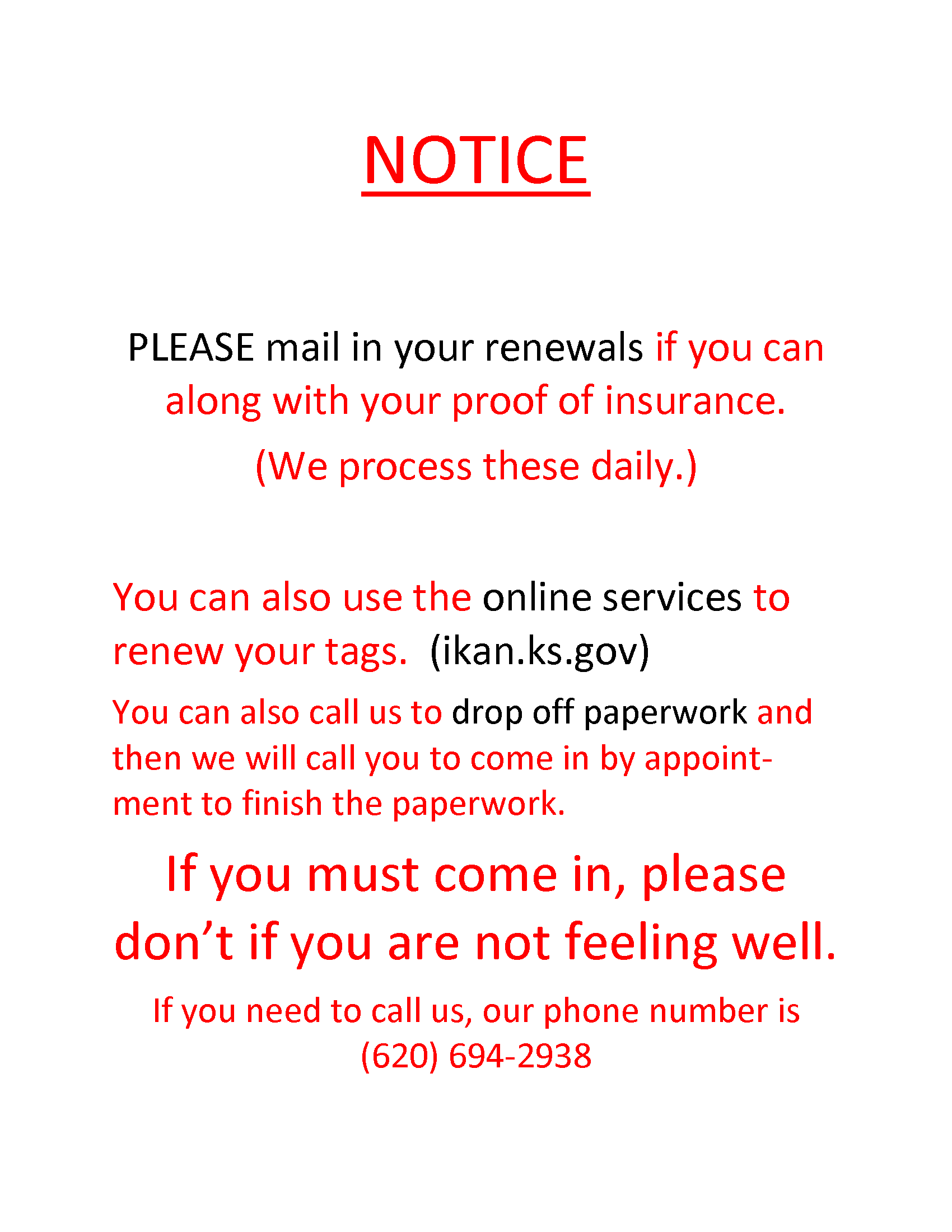 Notice to use other services or appts