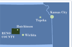 Map showing location of Reno County in Kansas